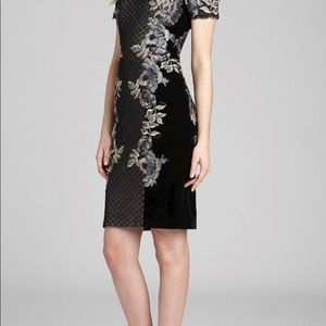 Teri Jon floral with Velvet cap sleeve dress.